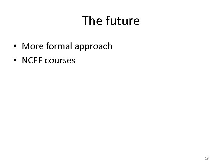 The future • More formal approach • NCFE courses 19