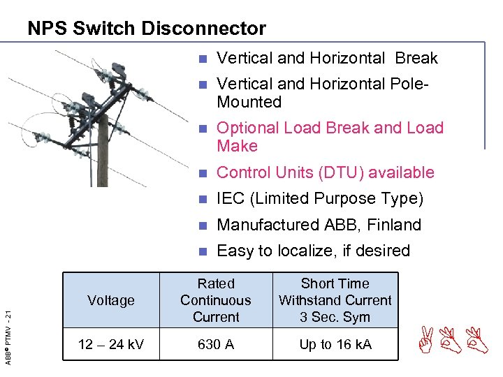 NPS Switch Disconnector n Vertical and Horizontal Break n Vertical and Horizontal Pole. Mounted