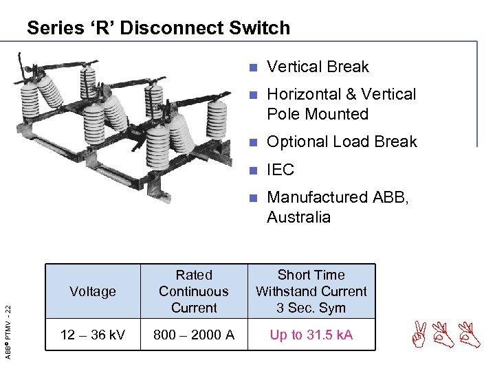 Series 'R' Disconnect Switch n Vertical Break n Horizontal & Vertical Pole Mounted n