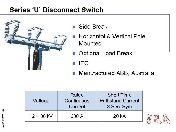 Series 'U' Disconnect Switch n Side Break n Horizontal & Vertical Pole Mounted n