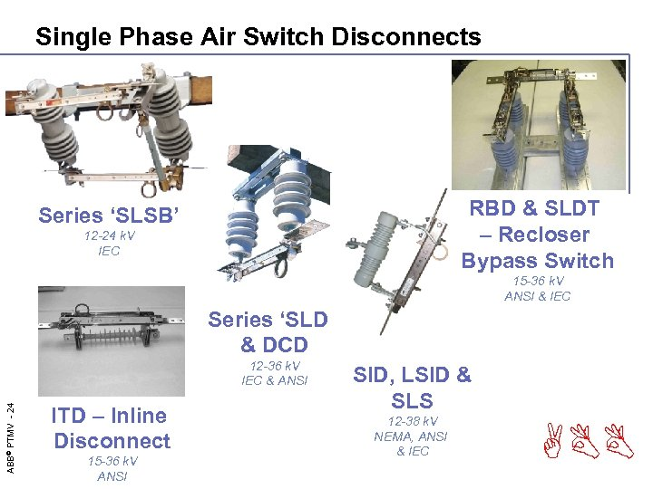 Single Phase Air Switch Disconnects RBD & SLDT – Recloser Bypass Switch Series 'SLSB'