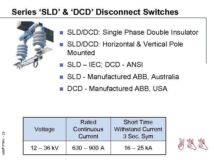 Series 'SLD' & 'DCD' Disconnect Switches SLD/DCD: Single Phase Double Insulator n SLD/DCD: Horizontal