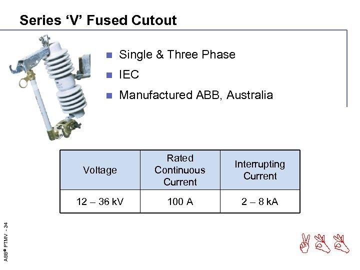 Series 'V' Fused Cutout n Single & Three Phase n IEC n Manufactured ABB,