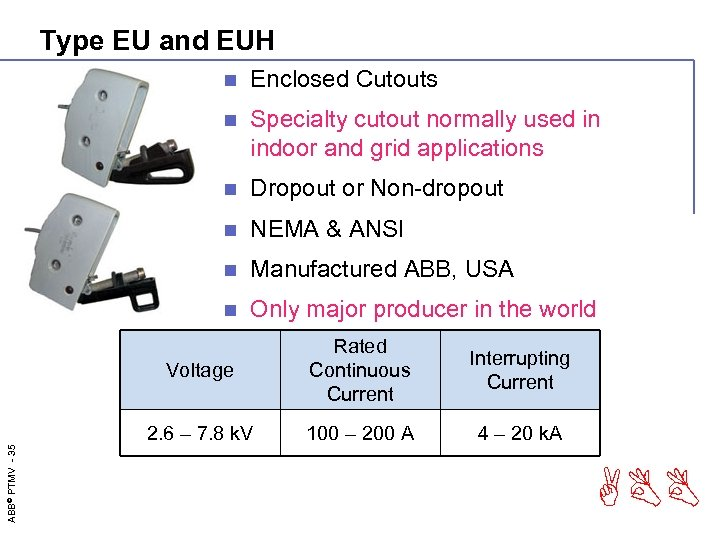 Type EU and EUH n Enclosed Cutouts n Specialty cutout normally used in indoor