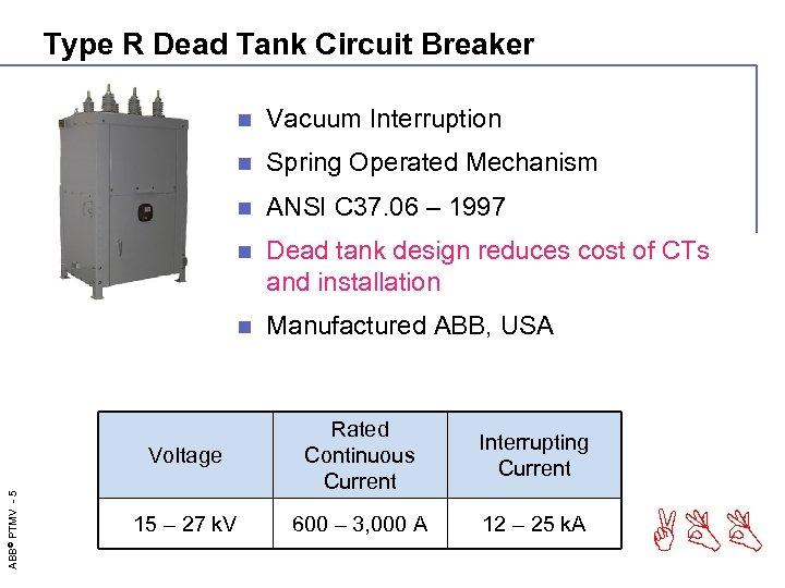 Type R Dead Tank Circuit Breaker n Vacuum Interruption n Spring Operated Mechanism n