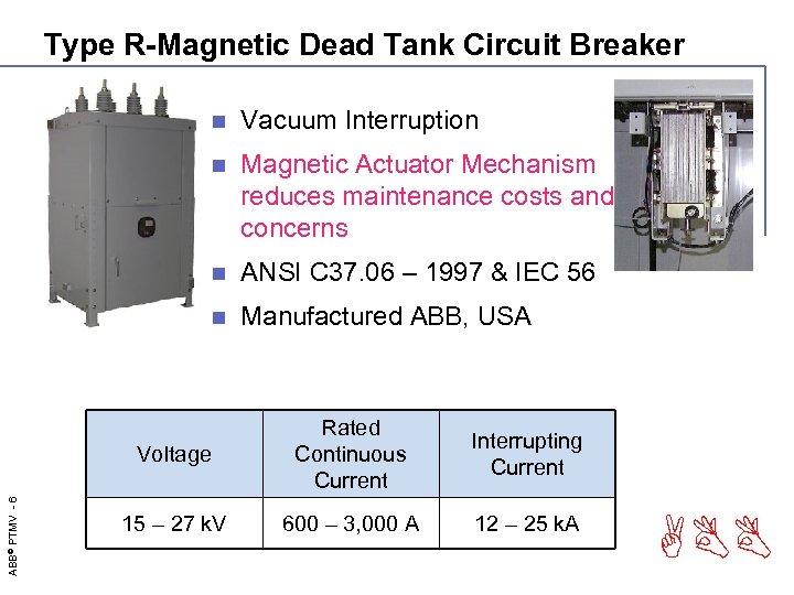 Type R-Magnetic Dead Tank Circuit Breaker n Vacuum Interruption n Magnetic Actuator Mechanism reduces