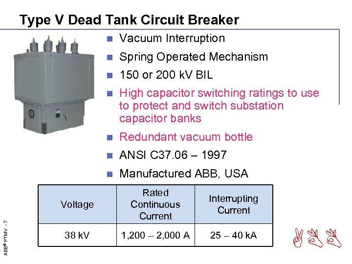 Type V Dead Tank Circuit Breaker n Vacuum Interruption n Spring Operated Mechanism n