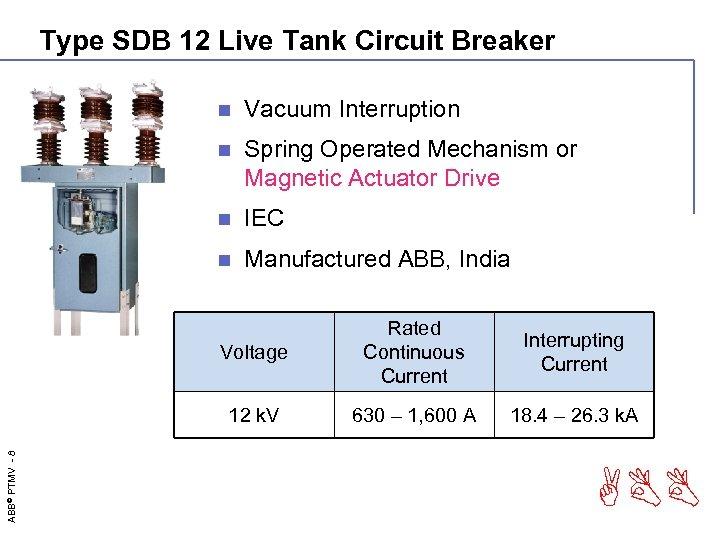 Type SDB 12 Live Tank Circuit Breaker n Vacuum Interruption n Spring Operated Mechanism