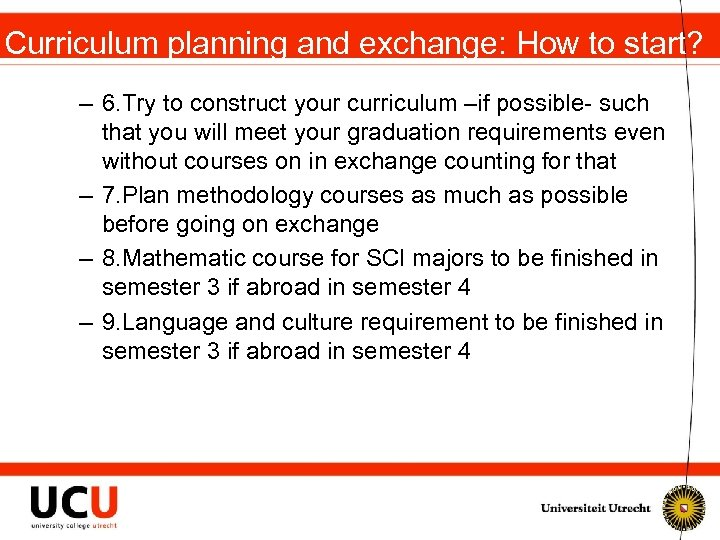 Curriculum planning and exchange: How to start? – 6. Try to construct your curriculum