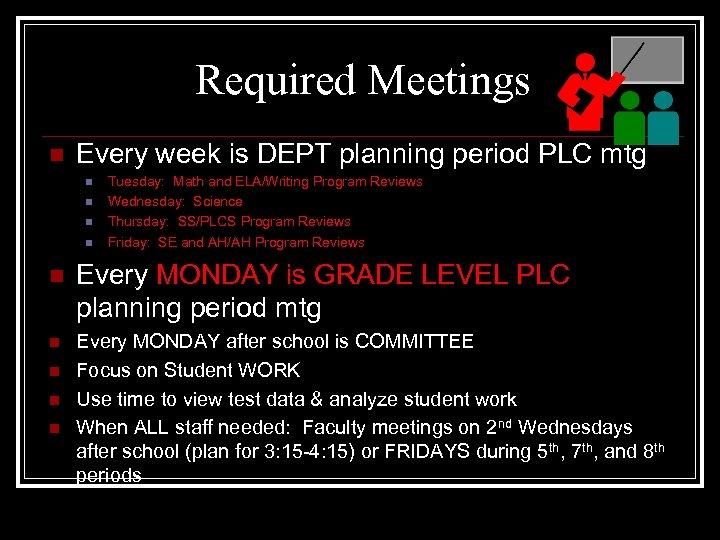 Required Meetings n Every week is DEPT planning period PLC mtg n n Tuesday: