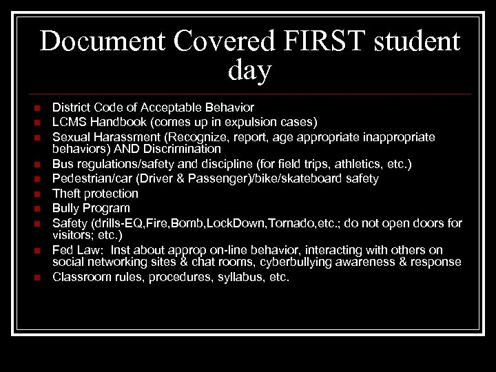 Document Covered FIRST student day n n n n n District Code of Acceptable