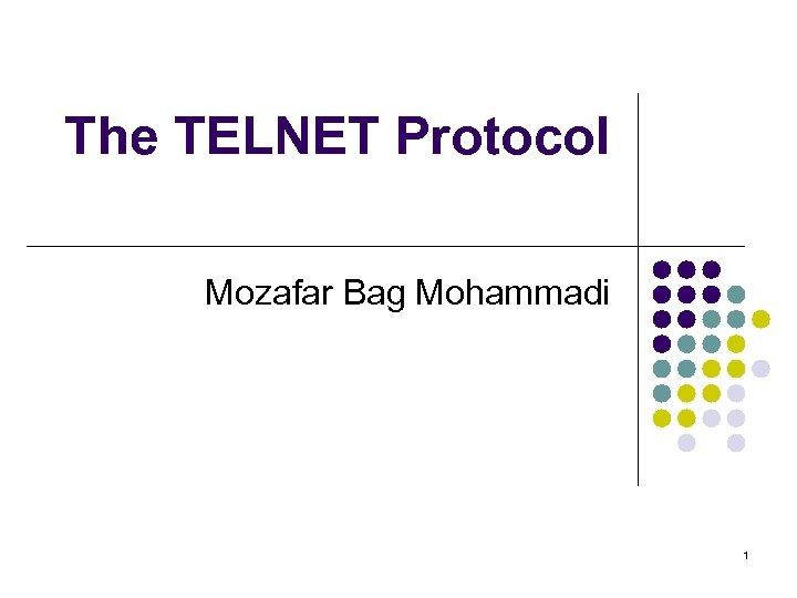 The TELNET Protocol Mozafar Bag Mohammadi 1