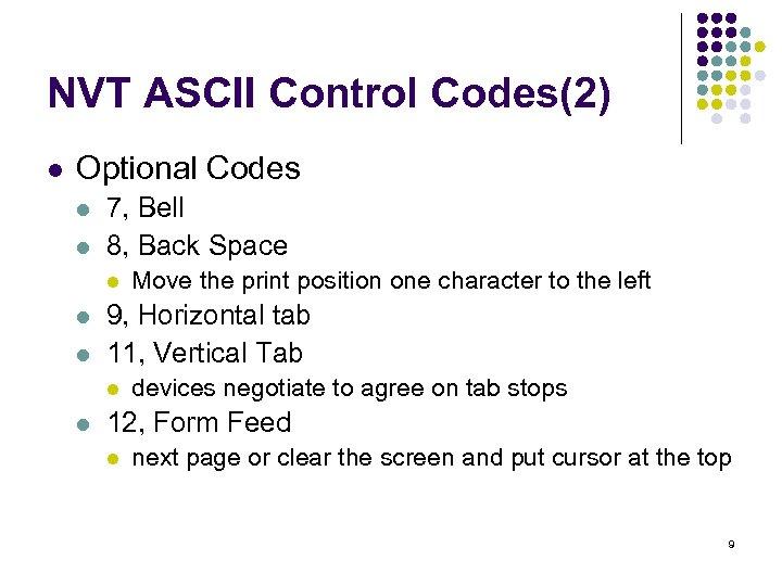 NVT ASCII Control Codes(2) l Optional Codes l l 7, Bell 8, Back Space