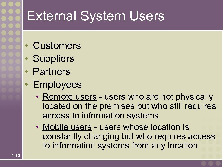 External System Users • • Customers Suppliers Partners Employees • Remote users - users