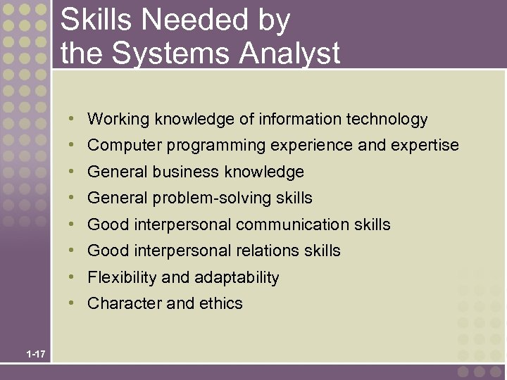 Skills Needed by the Systems Analyst • Working knowledge of information technology • Computer