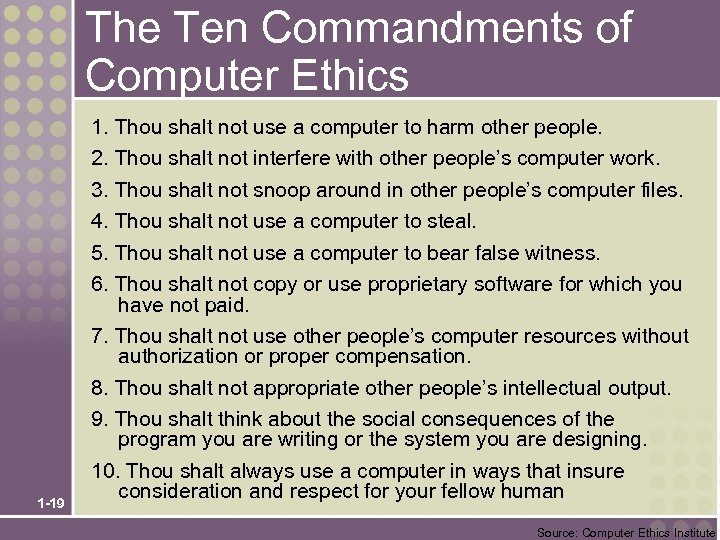 The Ten Commandments of Computer Ethics 1. Thou shalt not use a computer to