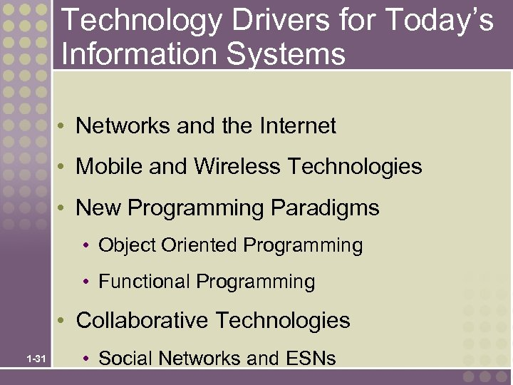 Technology Drivers for Today's Information Systems • Networks and the Internet • Mobile and
