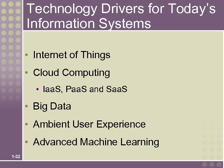 Technology Drivers for Today's Information Systems • Internet of Things • Cloud Computing •