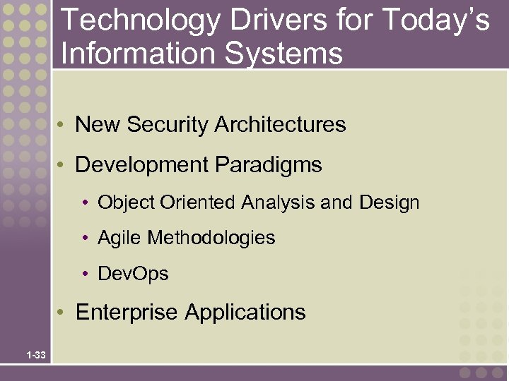 Technology Drivers for Today's Information Systems • New Security Architectures • Development Paradigms •