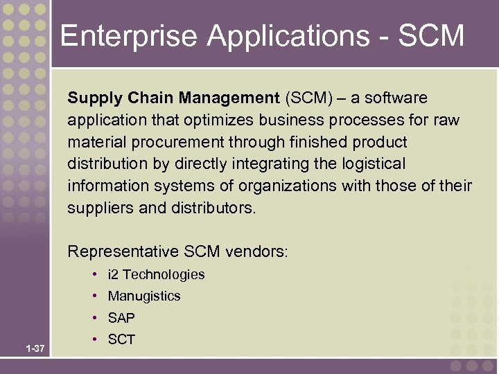 Enterprise Applications - SCM Supply Chain Management (SCM) – a software application that optimizes