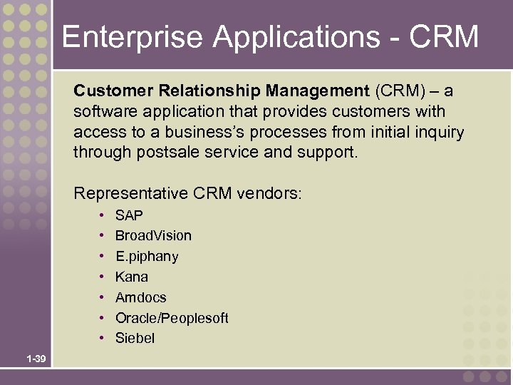 Enterprise Applications - CRM Customer Relationship Management (CRM) – a software application that provides