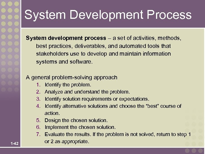System Development Process System development process – a set of activities, methods, best practices,