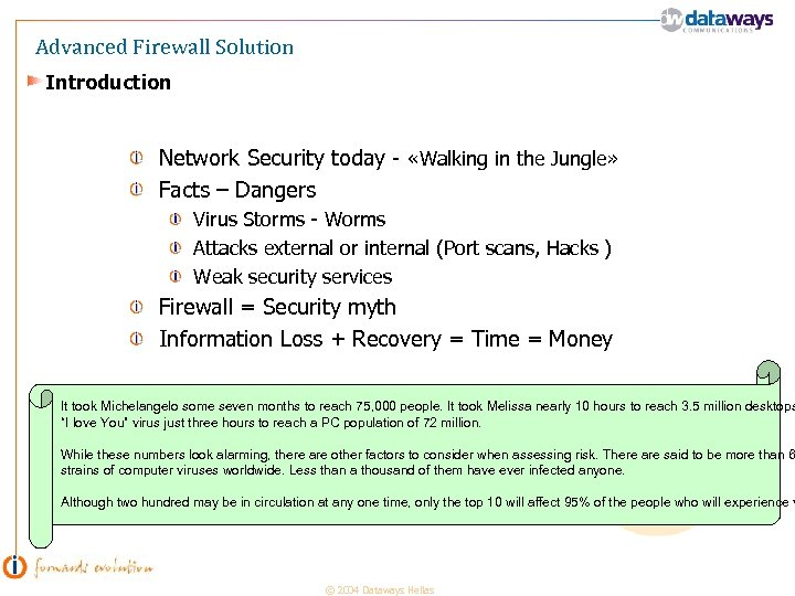 Advanced Firewall Solution Introduction Network Security today - «Walking in the Jungle» Facts –