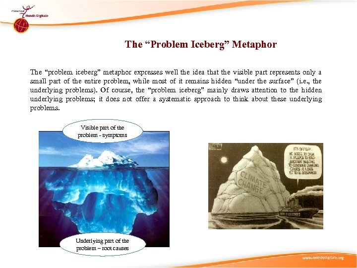 """The """"Problem Iceberg"""" Metaphor The """"problem iceberg"""" metaphor expresses well the idea that the"""