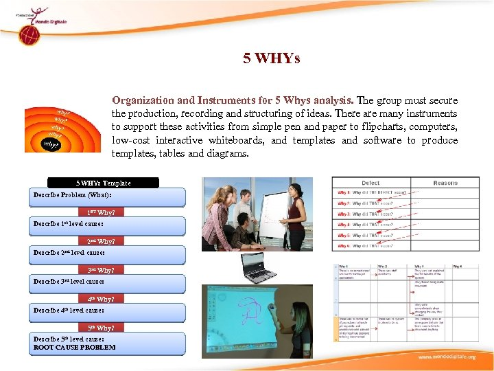 5 WHYs Organization and Instruments for 5 Whys analysis. The group must secure the