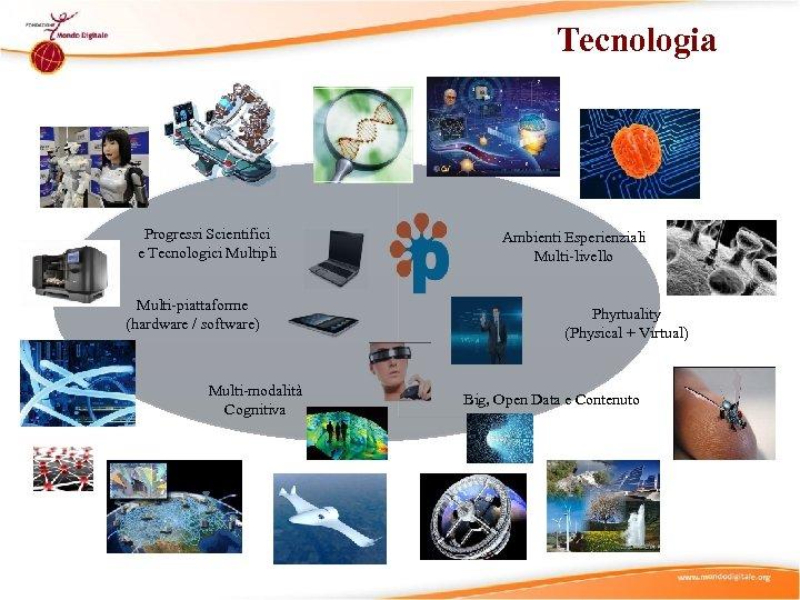 Tecnologia Progressi Scientifici e Tecnologici Multipli Multi-piattaforme (hardware / software) Multi-modalità Cognitiva Ambienti Esperienziali