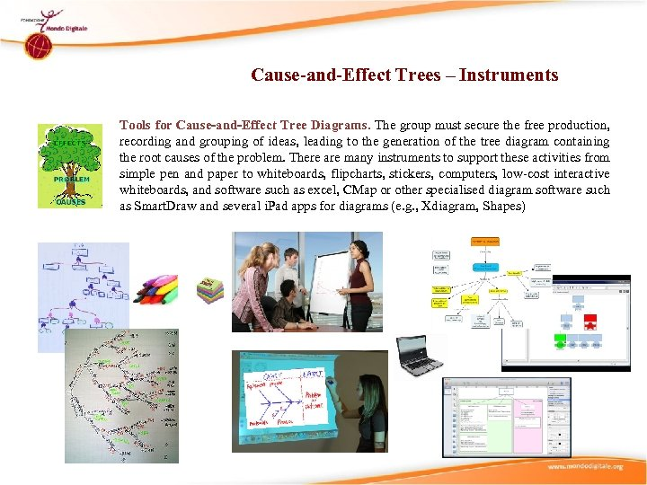 Cause-and-Effect Trees – Instruments Tools for Cause-and-Effect Tree Diagrams. The group must secure the