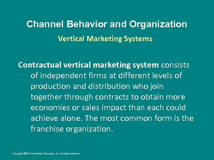 Channel Behavior and Organization Vertical Marketing Systems Contractual vertical marketing system consists of independent