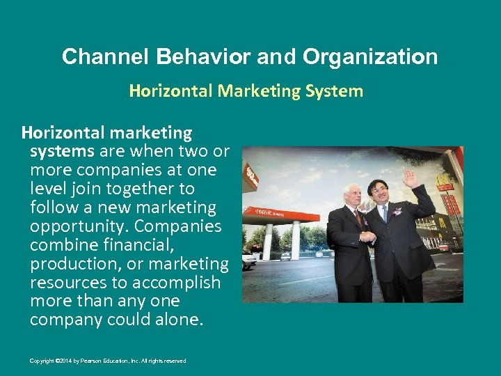 Channel Behavior and Organization Horizontal Marketing System Horizontal marketing systems are when two or