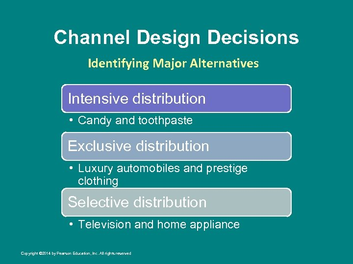 Channel Design Decisions Identifying Major Alternatives Intensive distribution • Candy and toothpaste Exclusive distribution