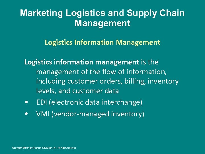 Marketing Logistics and Supply Chain Management Logistics Information Management Logistics information management is the