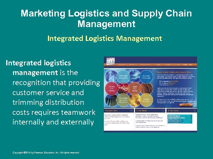 Marketing Logistics and Supply Chain Management Integrated Logistics Management Integrated logistics management is the