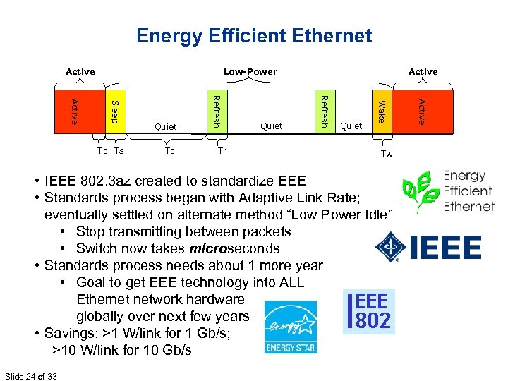 Energy Efficient Ethernet Active Low-Power Tw • IEEE 802. 3 az created to standardize