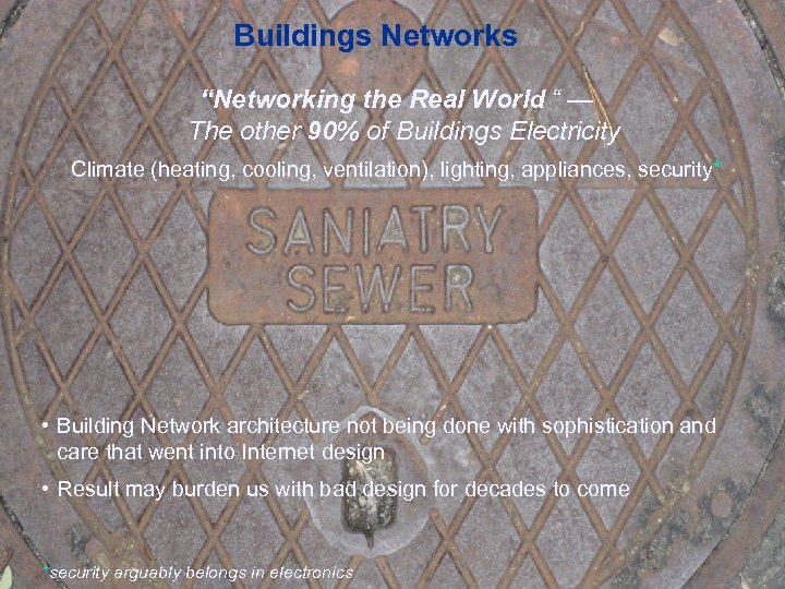 "Buildings Networks ""Networking the Real World "" — The other 90% of Buildings Electricity"