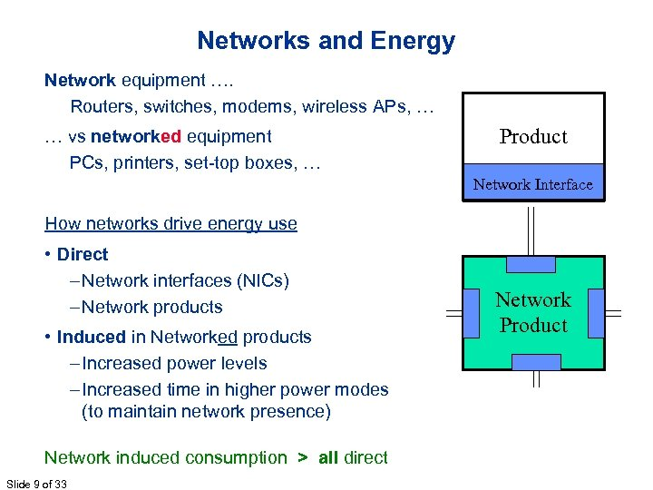 Networks and Energy Network equipment …. Routers, switches, modems, wireless APs, … … vs