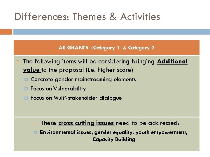 Differences: Themes & Activities All GRANTS (Category 1 & Category 2 The following items