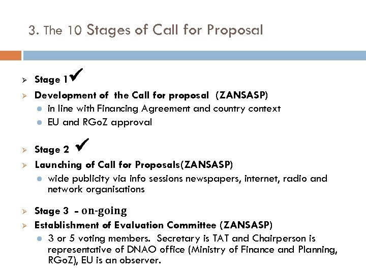 3. The 10 Stages of Call for Proposal Ø Ø Ø Stage 1 Development
