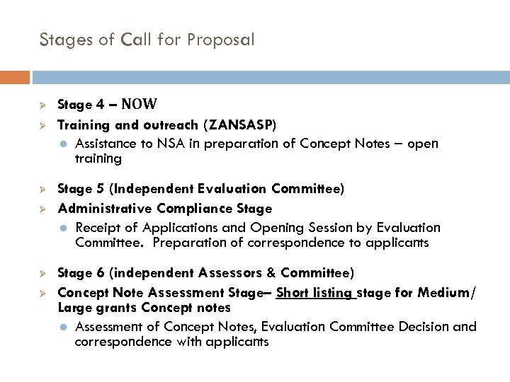Stages of Call for Proposal Ø Ø Ø Stage 4 – NOW Training and