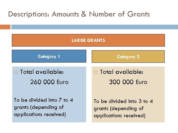 Descriptions: Amounts & Number of Grants LARGE GRANTS Category 1 Total available: 260 000