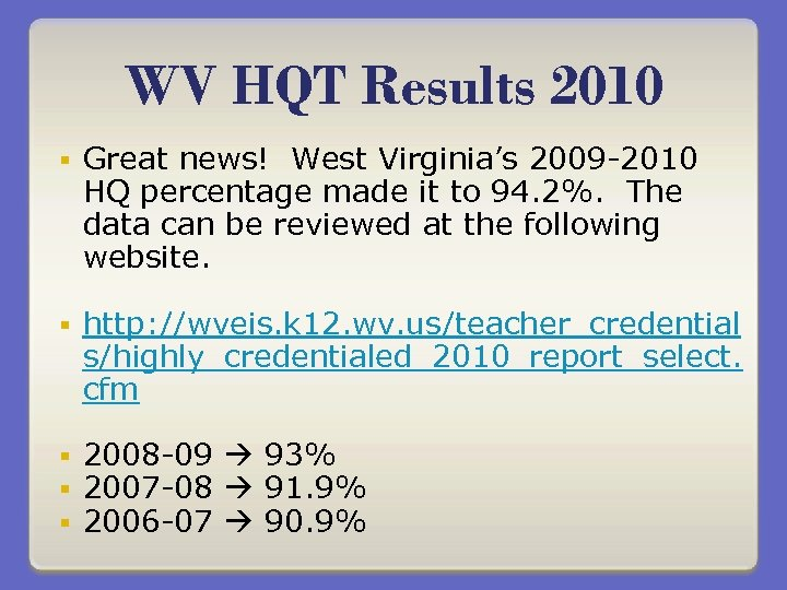 WV HQT Results 2010 § Great news! West Virginia's 2009 -2010 HQ percentage made