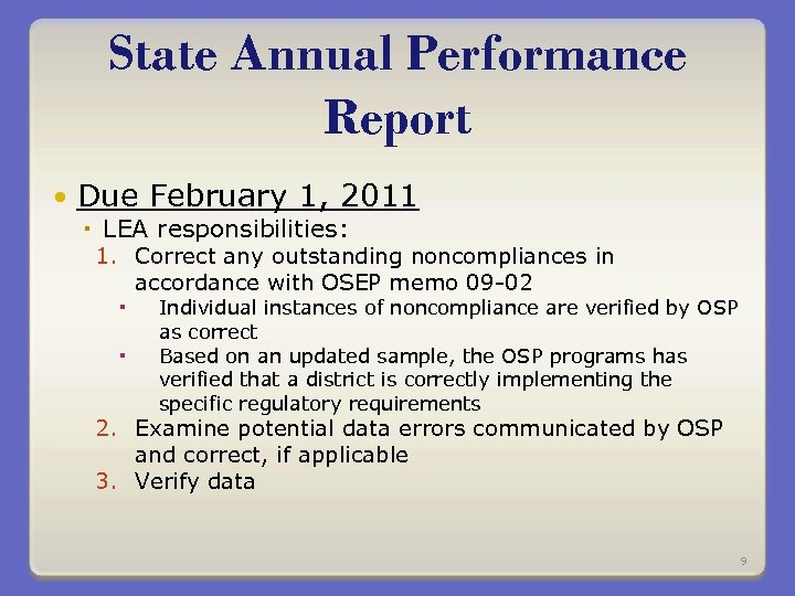 State Annual Performance Report Due February 1, 2011 LEA responsibilities: 1. Correct any outstanding