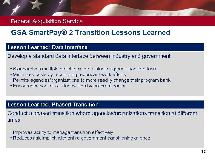 Federal Acquisition Service GSA Smart. Pay® 2 Transition Lessons Learned Lesson Learned: Data Interface