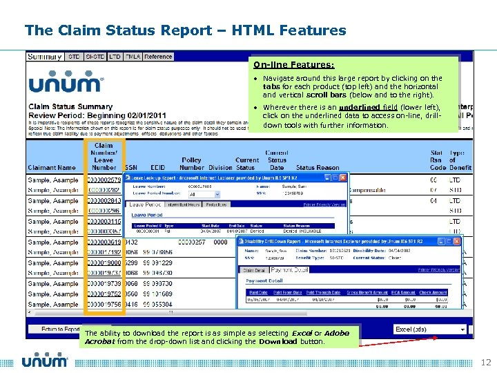 The Claim Status Report – HTML Features On-line Features: • Navigate around this large