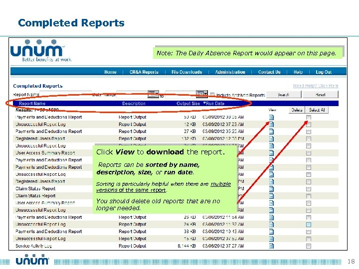 Completed Reports Note: The Daily Absence Report would appear on this page. Click View