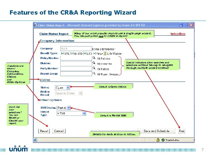 Features of the CR&A Reporting Wizard Claim Status Report 3 sections are shown: Company