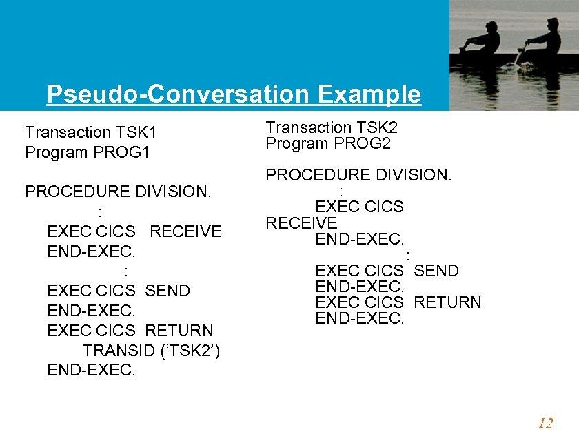 Pseudo-Conversation Example Transaction TSK 1 Program PROG 1 PROCEDURE DIVISION. : EXEC CICS RECEIVE